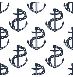 Ship anchors nautical seamless pattern vector