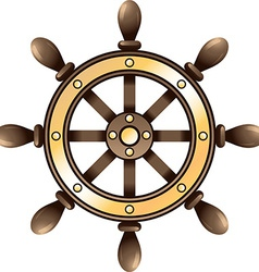 Ship steering wheel vector image vector image