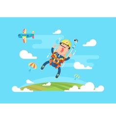 Skydiving sport flat vector image
