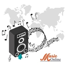 Speaker and music online design vector