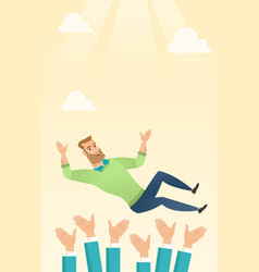 Successful businessman during celebration vector