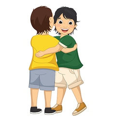 Two Boys Hugging Each Other vector image