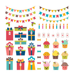 Set of birthday party or christmas design vector