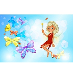 A fairy with a red dress beside the group of vector image