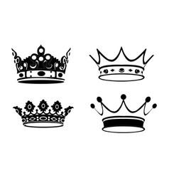 Set of royal crowns vector