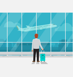 Businessman with luggage in airport vector