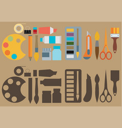 Colored flat design icons set of art supplies art vector