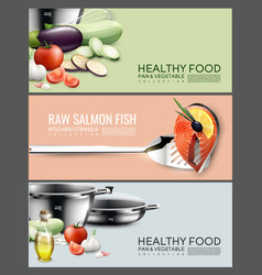 Realistic cooking elements horizontal banners vector
