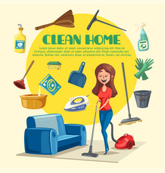 House or room cleaning poster vector