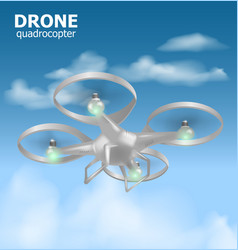 Realistic remote air drone quadrocopter flying in vector