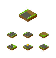isometric road set of driveway turn asphalt and vector image