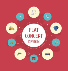 Flat icons restroom van excavator and other vector