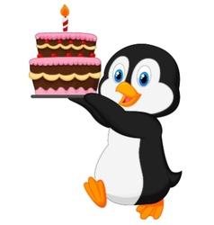 Cute penguin cartoon holding birthday cake vector image