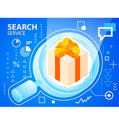 Bright glass search and gift box with bow on vector