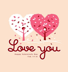 Valentines pink tree heart greeting card vector