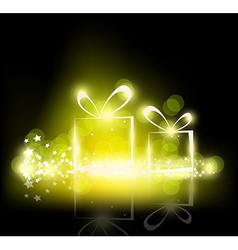 Sparkling christmas presents on a black background vector