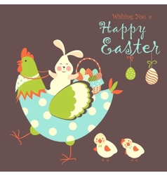 Easter bunnychicken and easter eggs vector