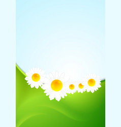 Summer background with green waves and camomiles vector