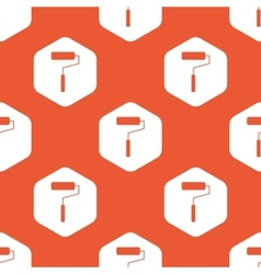 Orange hexagon paint roller pattern vector