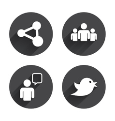 Group of people and share icons speech bubble vector