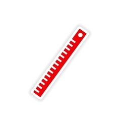 Icon sticker realistic design on paper ruler vector