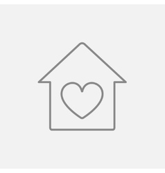 House with heart symbol line icon vector