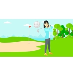 Golf player hitting the ball vector