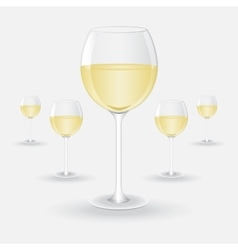 Glasses of white wine vector