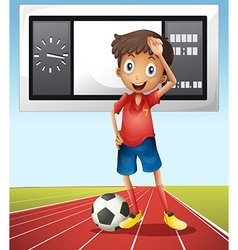Soccer player and score board vector