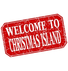 Welcome to christmas island red square grunge vector