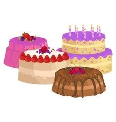 Sweets cakes with different stuffing chocolate vector