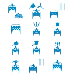 Brazier coocking icons set vector