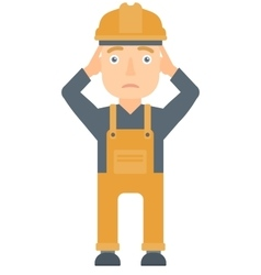 Builder grabs his head vector