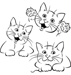 Cat playing - black outline vector