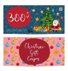 Christmas gift voucher with prepaid sum template vector