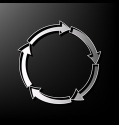 Circular arrows sign gray 3d printed icon vector
