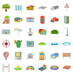 city transport icons set cartoon style vector image