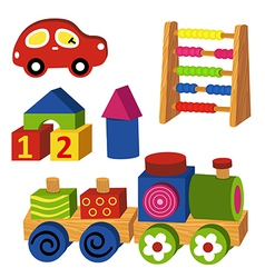 colorful wooden toys vector image vector image