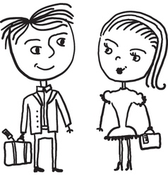 couple sketch vector image vector image