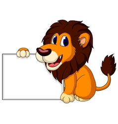 Cute lion cartoon with blank sign vector
