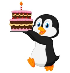 Cute penguin cartoon holding birthday cake vector