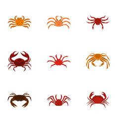 Different crab icons set cartoon style vector