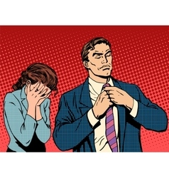 Family quarrel man leaves woman cries vector image vector image