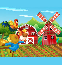Farm scene with scarecrow and chickens vector