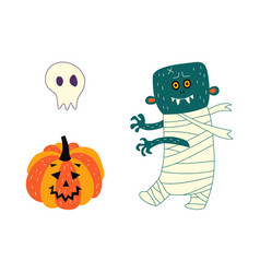 Flat halloween symbols set vector