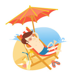 Funny man sunbathing on the beach with cocktail vector