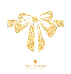 Golden lace roses gift bow silhouette pattern vector