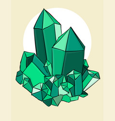 Green crystals on a beige background eps 8 vector