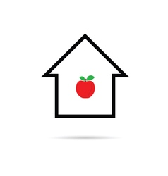 house cartoon with apple vector image vector image