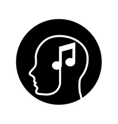 Human profile with music note vector